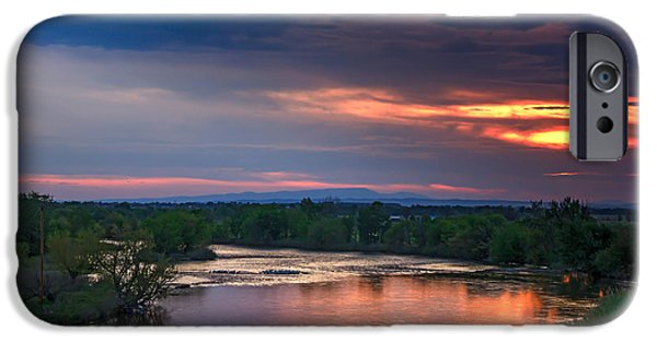 Flooding iPhone Cases - Sunset On The Payette  River iPhone Case by Robert Bales