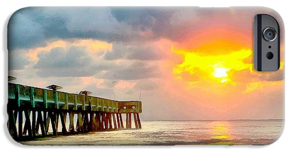 Ocean Sunset iPhone Cases - Sunset On The Pier iPhone Case by Dan Sproul