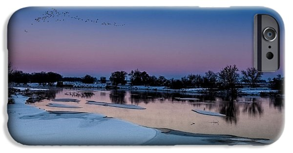 Wintertime iPhone Cases - Sunset on the Platte iPhone Case by Steven Reed