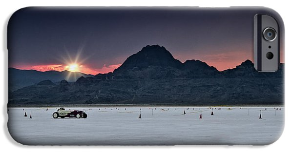 Racing Photographs iPhone Cases - Sunset on the Salt Bonneville 2012 iPhone Case by Holly Martin