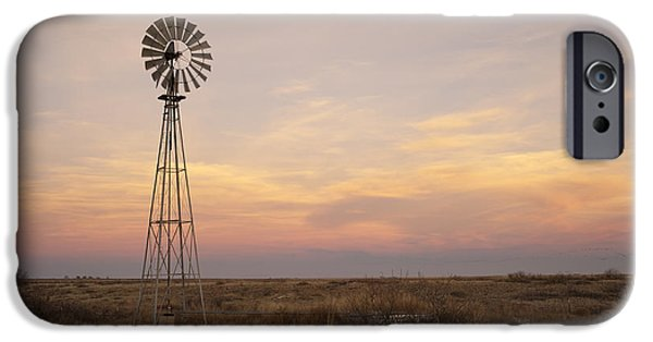 Dry Lake iPhone Cases - Sunset on the Texas Plains iPhone Case by Melany Sarafis