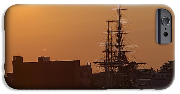 Constitution iPhone Cases - Sunset on the USS Constitution iPhone Case by Brian MacLean