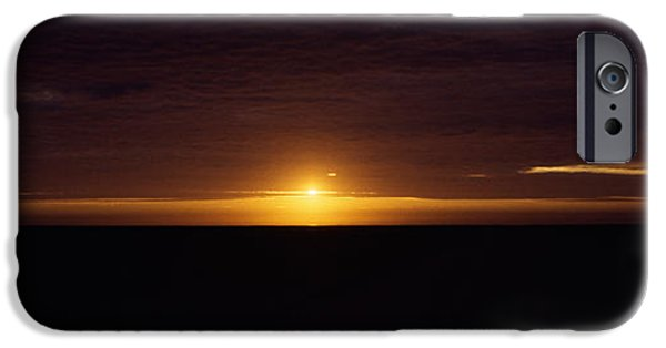 Horizon Over Land iPhone Cases - Sunset Over A Desert, Namib Desert iPhone Case by Panoramic Images
