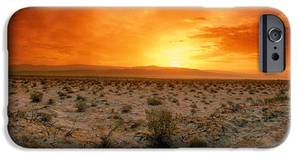 Horizon Over Land iPhone Cases - Sunset Over A Desert, Palm Springs iPhone Case by Panoramic Images