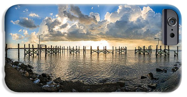 Louisiana Photographs iPhone Cases - Sunset Over A Lake, Lake Pontchartrain iPhone Case by Panoramic Images