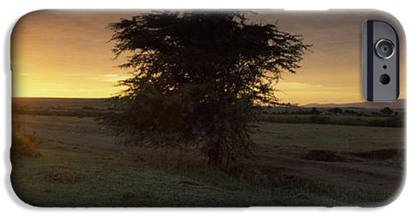 Masai Mara Photographs iPhone Cases - Sunset Over A Landscape, Masai Mara iPhone Case by Panoramic Images