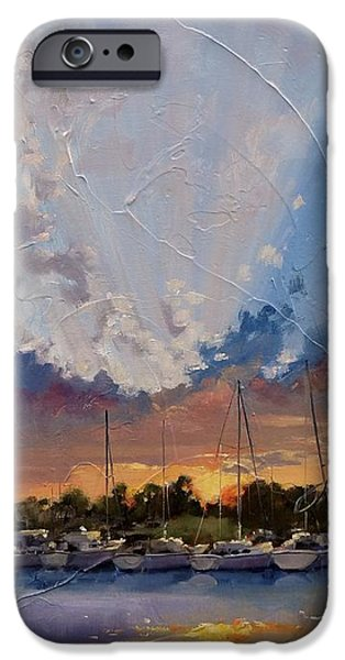 Sun Rays Paintings iPhone Cases - Sunset Over Bay Point iPhone Case by Laura Lee Zanghetti
