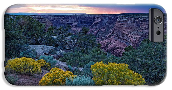 Chelly iPhone Cases - Sunset over Black Mesa at Canyon de Chelly iPhone Case by Silvio Ligutti