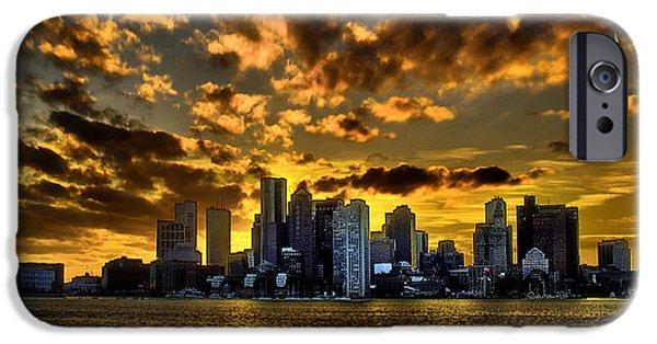Newengland iPhone Cases - Sunset over Boston Harbor iPhone Case by Ludmila Nayvelt