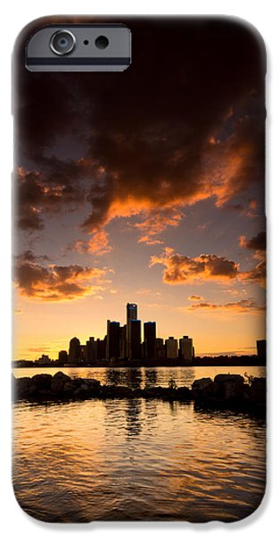 Centre iPhone Cases - Sunset over Detroit iPhone Case by Cale Best