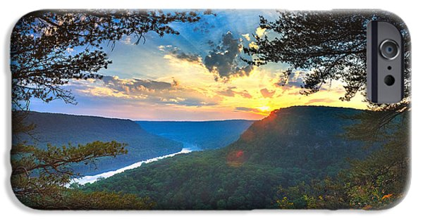 Tennessee River iPhone Cases - Sunset Over Edwards Point iPhone Case by Steven Llorca