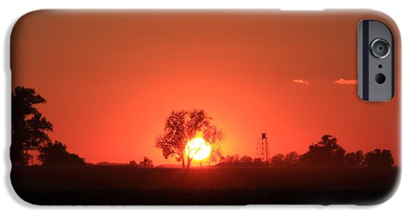 Southern Indiana iPhone Cases - Sunset Over Farmland iPhone Case by Andrea Kappler