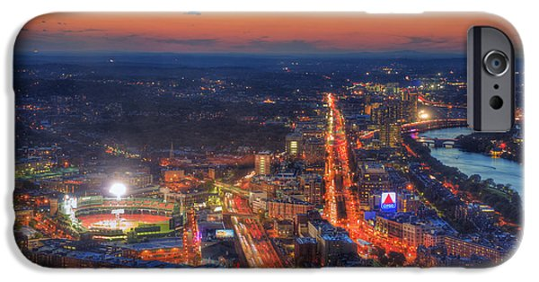 Boston Cityscape iPhone Cases - Sunset Over Fenway Park and the CITGO Sign iPhone Case by Joann Vitali