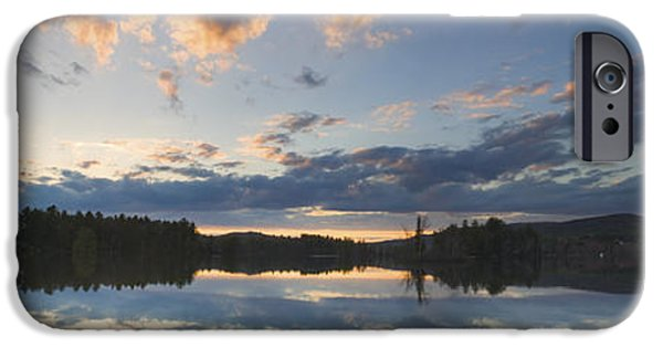 Trees Reflecting In Water iPhone Cases - Sunset Over Flying Pond in Vienna Maine iPhone Case by Keith Webber Jr