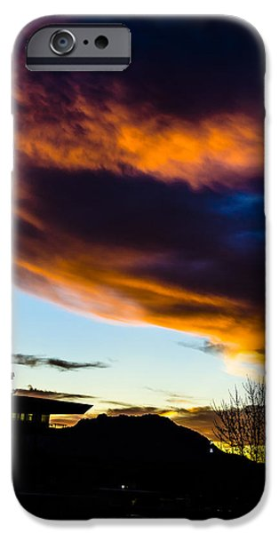 Prescott iPhone Cases - Sunset over Granite Mountain and AC1 iPhone Case by Alan Marlowe