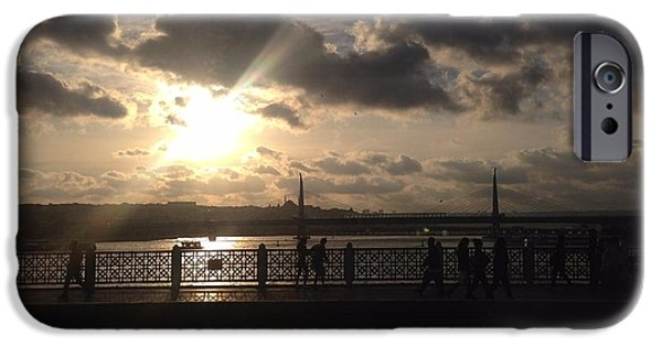 Reflection Of Sun In Clouds iPhone Cases - Sunset Over Istanbul Turkey iPhone Case by John Telfer