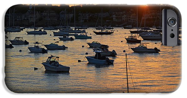 Sailboat Ocean iPhone Cases - Sunset over Marblehead Harbor iPhone Case by Toby McGuire