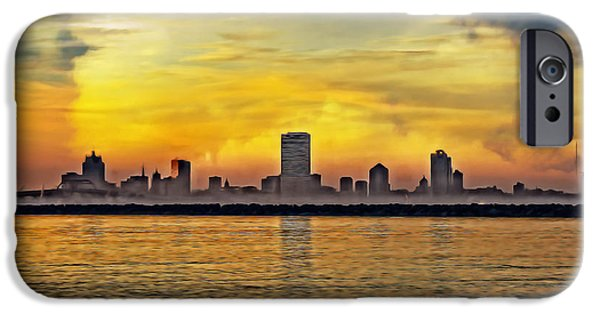 City Scape Digital Art iPhone Cases - Sunset over Milwaukee iPhone Case by Mary Machare