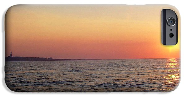 Ocean Sunset iPhone Cases - Sunset over Montauk iPhone Case by John Telfer