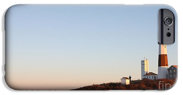 Lighthouse iPhone Cases - Sunset over Montauk Lighthouse iPhone Case by John Telfer
