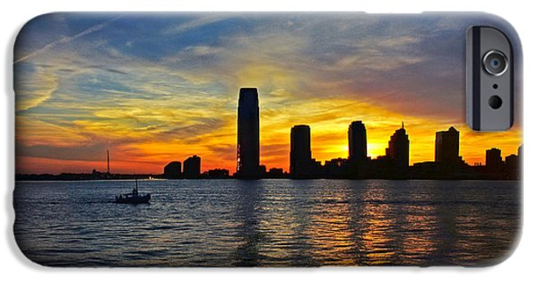 Hudson River iPhone Cases - Sunset over New Jersey iPhone Case by Nishanth Gopinathan