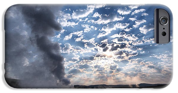 Twilight iPhone Cases - Sunset over Old Faithful - Horizontal iPhone Case by Andres Leon