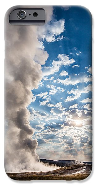 Nature iPhone Cases - Sunset over Old Faithful - Vertical iPhone Case by Andres Leon