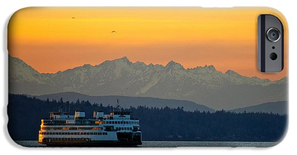 Sunset iPhone Cases - Sunset over Olympic Mountains iPhone Case by Dan Mihai
