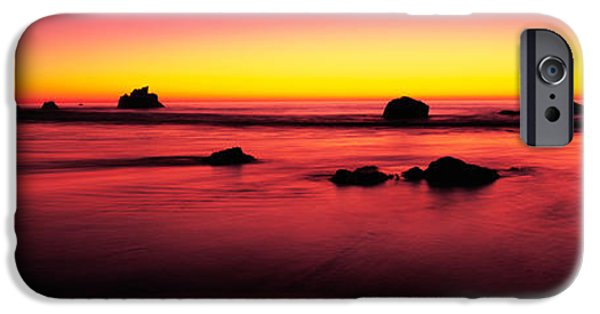 Big Sur California iPhone Cases - Sunset Over Rocks In The Ocean, Big iPhone Case by Panoramic Images