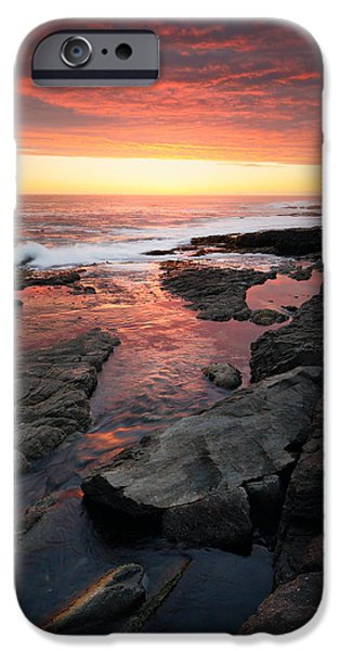 Dark Skies iPhone Cases - Sunset over rocky coastline iPhone Case by Johan Swanepoel