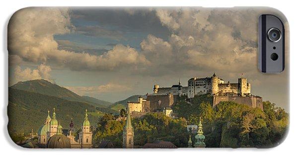 Salzburg iPhone Cases - Sunset over Salzburg iPhone Case by Chris Fletcher