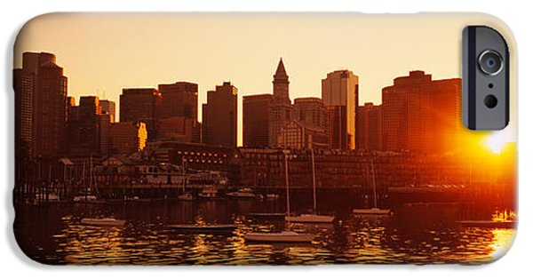 City. Boston iPhone Cases - Sunset Over Skyscrapers, Boston iPhone Case by Panoramic Images