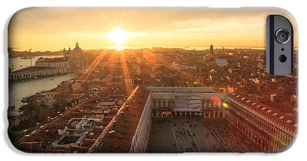 Citylife iPhone Cases - Sunset over St Marks square Venice Italy iPhone Case by Matteo Colombo