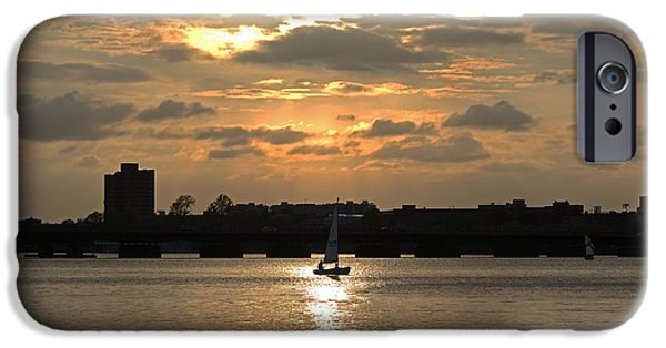 Charles River iPhone Cases - Sunset over the Charles River iPhone Case by Toby McGuire