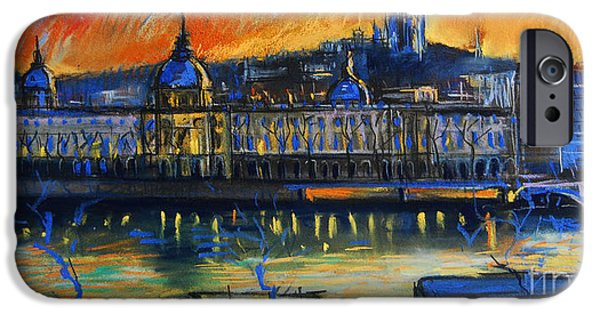 Facade Pastels iPhone Cases - Sunset Over The City - Lyon France iPhone Case by Mona Edulesco