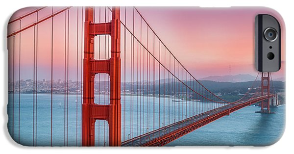 National Treasure iPhone Cases - Sunset over the Golden Gate Bridge iPhone Case by Sarit Sotangkur