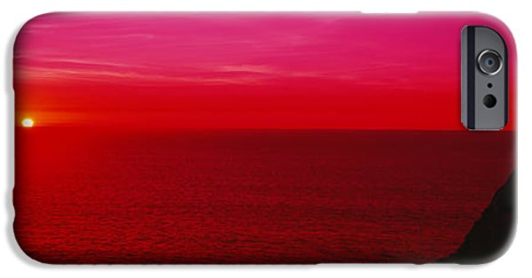 Ocean Sunset iPhone Cases - Sunset Over The Ocean, California, Usa iPhone Case by Panoramic Images