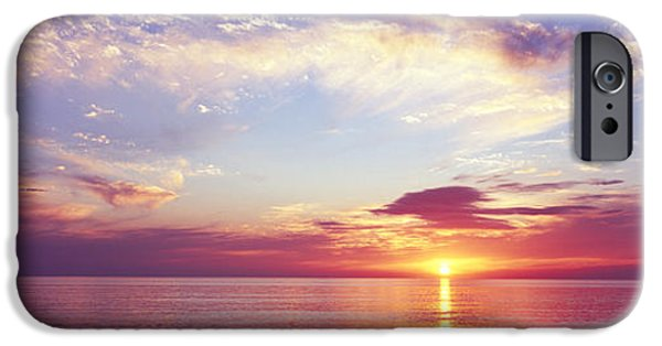 Reflection Of Sun In Clouds iPhone Cases - Sunset Over The Ocean, Gulf Of Mexico iPhone Case by Panoramic Images