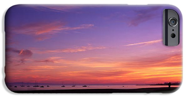 Ocean Sunset iPhone Cases - Sunset Over The Ocean, Santa Barbara iPhone Case by Panoramic Images