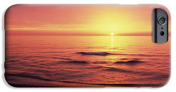 Seascape Photography iPhone Cases - Sunset Over The Sea, Venice Beach iPhone Case by Panoramic Images