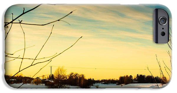Winter Scene iPhone Cases - Sunset Over The Snowy River 1 iPhone Case by Jukka Heinovirta