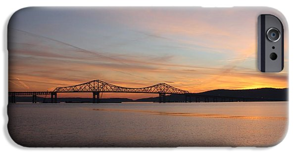 Hudson River iPhone Cases - Sunset Over the Tappan Zee Bridge iPhone Case by John Telfer
