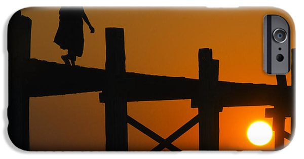 Buddhist iPhone Cases - Sunset over the U Bein foot bridge iPhone Case by Claude LeTien