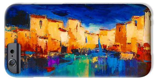 Colorful Paintings iPhone Cases - Sunset Over the Village iPhone Case by Elise Palmigiani