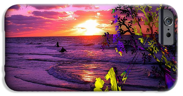 Beach iPhone Cases - Sunset Over The Water While Children Play iPhone Case by Marvin Blaine