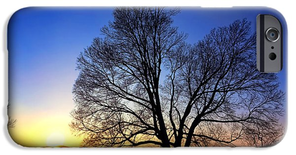 Snowy Evening iPhone Cases - Sunset over Valley Forge iPhone Case by Olivier Le Queinec