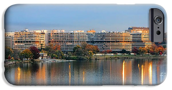 D.c. iPhone Cases - Sunset over Watergate iPhone Case by Olivier Le Queinec