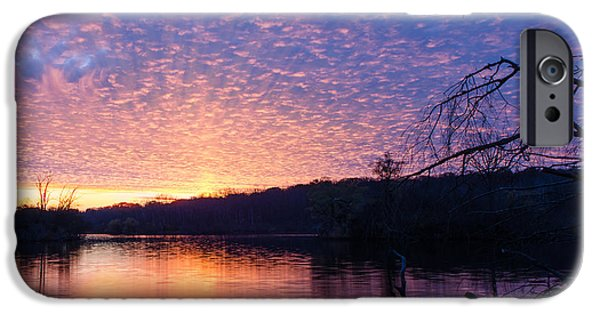 Nature Center Pond iPhone Cases - Sunset over Wehr iPhone Case by Edward Deiro