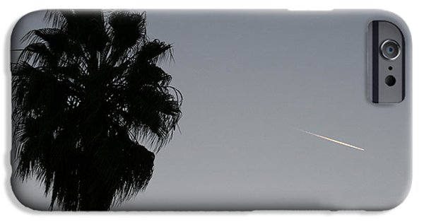Jet Pyrography iPhone Cases - Sunset Palm and Jet Trail iPhone Case by Ron Javorsky