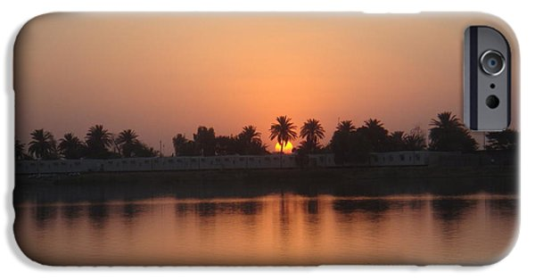 Baghdad iPhone Cases - Sunset Palms Over Lake iPhone Case by Sharla Fossen